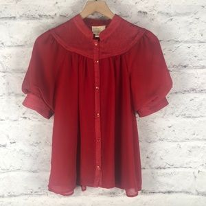 NWOT Anthropologie Maeve Red Blouse Sz 6/Medium